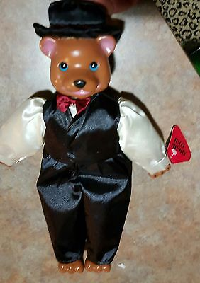 ACMI Sugar Loaf Rare Vintage TEDDY BROWN BEAR HAT/RED BOW TIE/TUXEDO VEST/PANTS