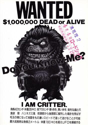 CRITTER  - Original Japanese  Mini Poster Chirashi