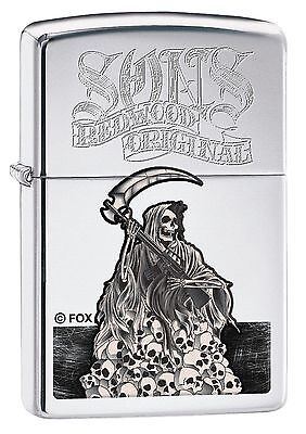 Zippo 7991  Sons Of Anarchy Reaper  High Polish Chrome Finish Lighter  Full Size
