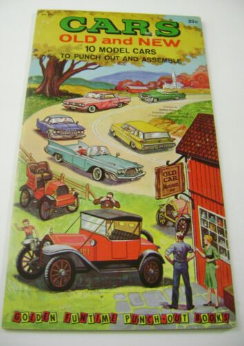 VTG PAPER TOY DOLLS 1961 CARS OLD NEW GOLDEN FUNTIME PUNCH BOOK UNUSED!!! giant