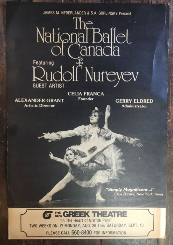RUDOLF NUREYEV - Rare 1977 Poster - National Ballet Of Canada - LA Greek Theatre