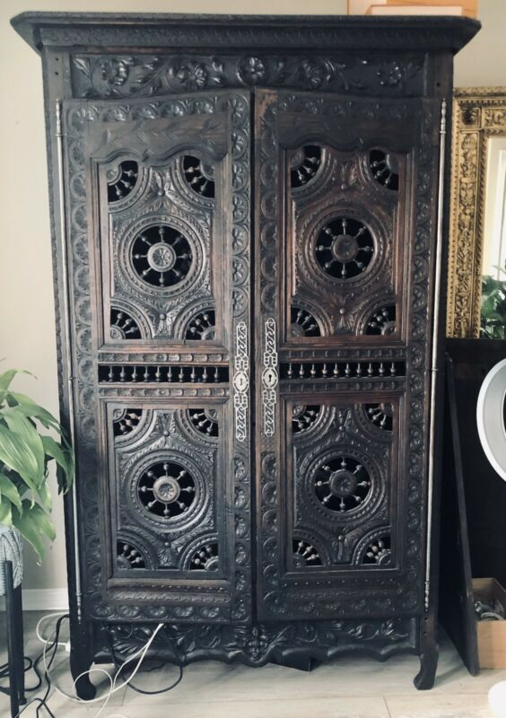Gorgeous Hand-Carved Antique Armoire Wardrobe