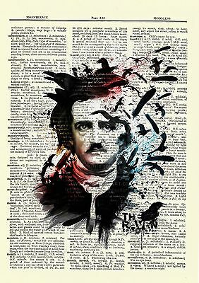 Edgar Allan Poe Dictionary Art Print Picture Portrait Story Print Book Author