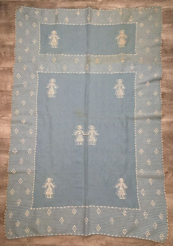 Antique MURRAY BAY Childs Homespun Wool BLANKET Hand Woven French Canadian Blue
