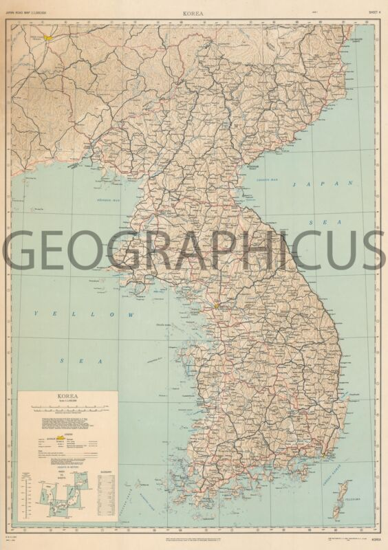 1945 ARMY MAP SERVICE MAP OF KOREA
