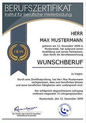 Berufszertifikat, Premium, Urkunde, Zertifikat, Auszeichnung, Geschenk - UK-691