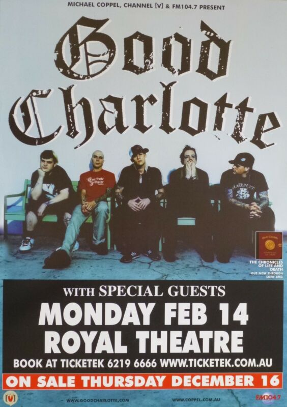 """GOOD CHARLOTTE """"CHRONICLES OF LIFE TOUR"""" 2005 CANBERRA, AUSTRALIA CONCERT POSTER"""
