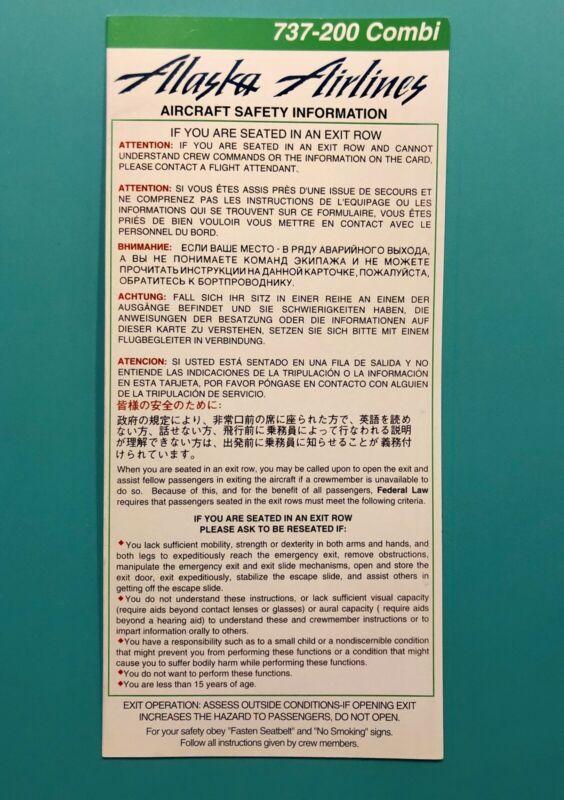 RARE ALASKA SAFETY CARD--737-200 COMBI