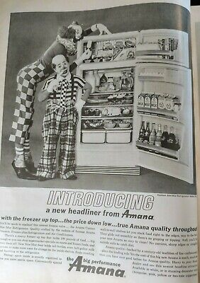 Vintage 1963 Amana Refrigerator Print Ad with Clowns #2184