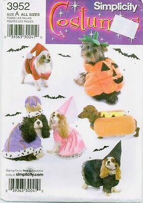 Simplicity 3952 DOG COSTUME Santa Princess Prince Witch sewing pattern UNCUT (Dog Costume Patterns)
