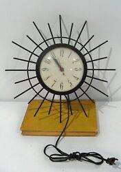 Mid Century Modern Wall Clock by United Black Metal Starburst Atomic Age