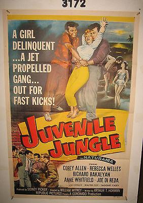 JUVENILE JUNGLE 1sh Original Movie Poster 1958 a girl delinquent