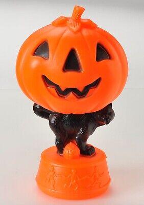 """Vintage Halloween Jack O Lantern with Black Cat Skeletons Blow Mold 14"""" No Light"""