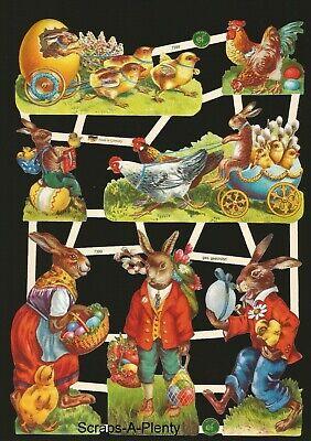 German Embossed Vintage Style Scrap Die Cut- Colorful Easter Bunny Chicks EF7399