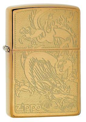 Zippo 4622, Dragon, Engraved Brushed Brass Finish Lighter