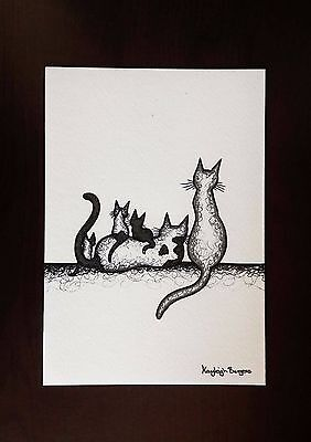 (Cat kitten family mum dad print A5 original ink drawing picture black painting 2)