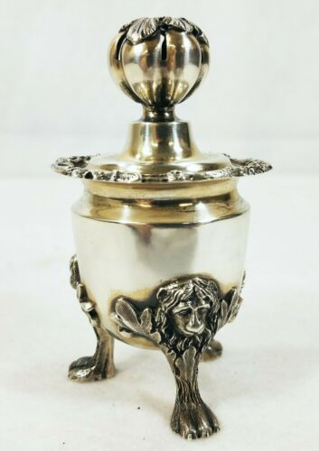 Antique Dutch Netherlands Sterling Silver Shaker with Lion Heads
