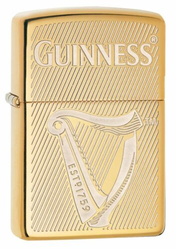 Zippo Windproof Brass Lighter With Engraved Guinness Beer Harp 29651, New In Box
