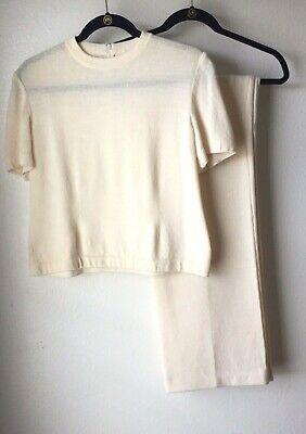 ST JOHN Basics Pant Suit Set Top Size 10 Pant Size 10 Ivory Santana Knit