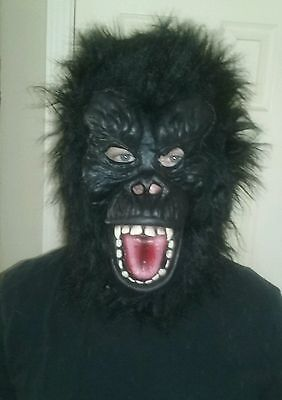 Halloween Unisex SCARY FACE GORILLA Face Mask Costume, Black, One Size