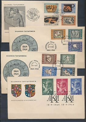 XC13929 Greece 1964 royalty ancient greek art FDC's used