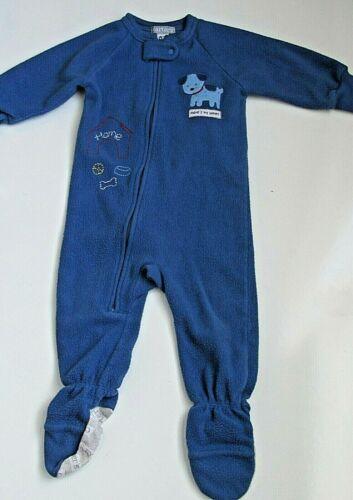 Carters Toddler Boy Sleeper Jumpsuit 12M Blue Puppy Zip Up Long Sleeve Fleece