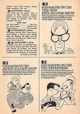 1963 CBS TV AD'S~AL HIRSCHFELD SKETCHES~JACKIE GLEASON~PHIL SILVERS~EG MARSHALL