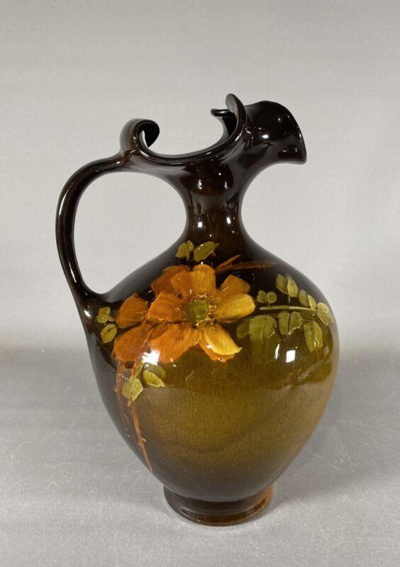 Antique Owens Utopian Pottery Large Floral Ewer