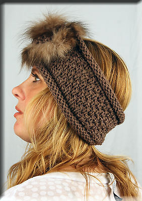 New Brown Knit Headband with Fox Fur Rosette - Efurs4less