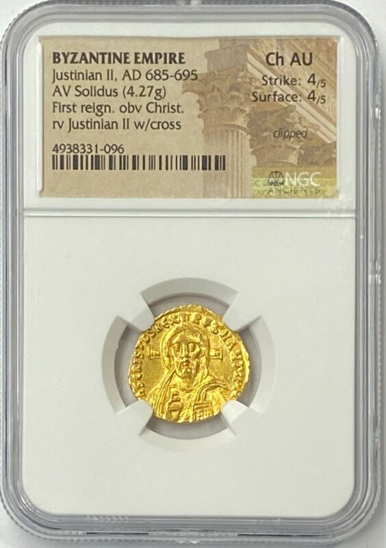 Byzantine Empire Justinian II AD 685-695 Gold Solidus NGC CHAU Old Jesus Christ