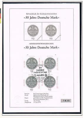 SCHWARZDRUCK SONDERBLATT Deutschland mit Sonderstempel Prägefrisch 19.Juni 1998