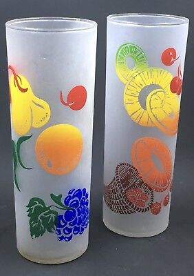 2 Federal Fruit Zombie Tall Glasses Tumblers Frosted 6 3/4