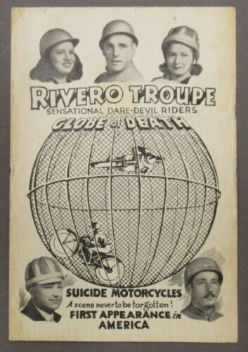 """1947 RIVERO TROUPE """"GLOBE OF DEATH"""" motorcycle daredevils advertising card"""