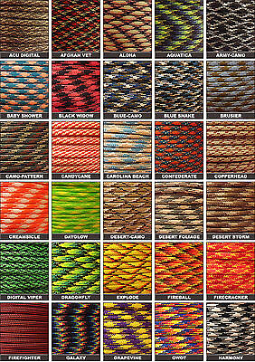 Pattern Colors 550 Paracord Mil Spec Type III 7 strand parachute cord 10-100 ft 7 Strand Parachute Cord