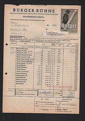 SPAICHINGEN, Rechnung 1958, Stumpen-Fabrik Burger Söhne