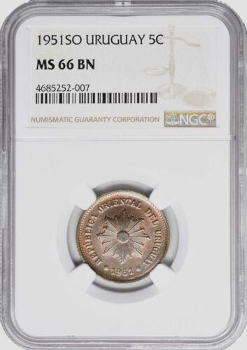 1951 SO MS 66 BN Uruguay 5 Centesimos NGC UNC KM 21a TOP GRADE!