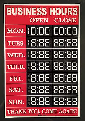 Custom Customizable Business Hours Sticker Decal Sign Free Shipping
