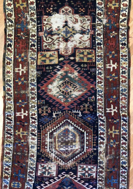 Amazing Azerbaijani - 1870s Antique Karadagh Rug - Tribal Runner - 3.8 X 10.8 Ft