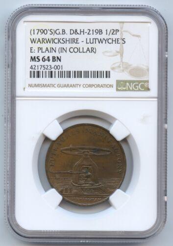 Great Britain (1790s) Conder Token D&H-219B 1/2P (#1412) Warwickshire-Lutwyche