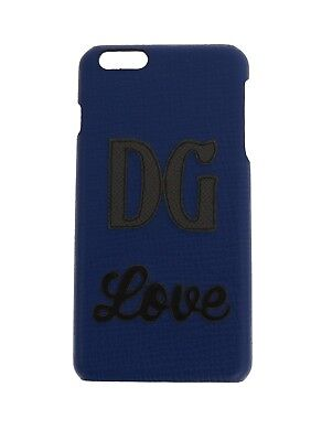 NEW $400 DOLCE & GABBANA Phone Case Blue Leather DG Love iPhone6 Plus