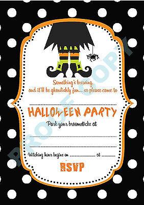 #63 HALLOWEEN Pack of 10 polka dot kids children birthday party - Kids Halloween Birthday Invitations