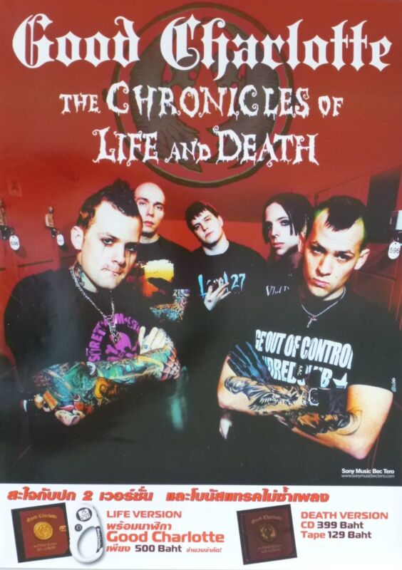 """GOOD CHARLOTTE """"CHRONICLES OF LIFE & DEATH"""" THAILAND PROMO POSTER-Bros & Tattoos"""