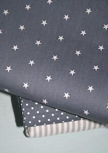 stoff sternchen baumwolle patchwork sterne grau ebay. Black Bedroom Furniture Sets. Home Design Ideas