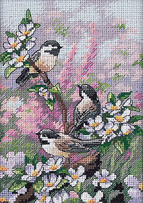 Chickadee Birds Spring Gold Collection Petites Dimensions Cross Stitch Kit