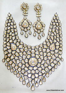 VINTAGE-ANTIQUE-20K-GOLD-DIAMOND-POLKI-KUNDAN-ENAMEL-NECKLACE-EARRING-PAIR-INDIA
