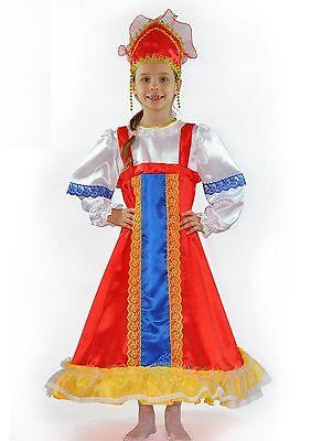 Russian Girls Carnival Costume Traditional Folk Kokoshnik Headwear Sarafan Dress