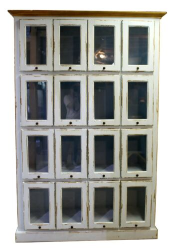 Vintage 16 Drawer Pattern Cabinet - Apothecary Glass Front Doors, Painted Blue