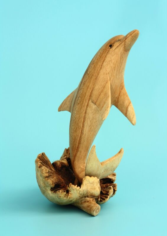 Wooden Hand Carved Single Dolphin Statue Sculpture Wood Decor Figurine Handmade
