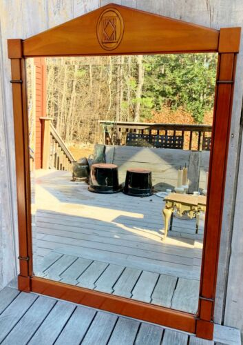 Vintage Grange French Provincial Palladian Solid Cherry Wood Wall Mirror c. 1970