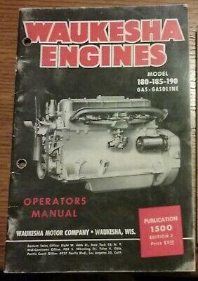 Waukesha 180 185 190 Gas-gasoline Engines Operators Manual 1949